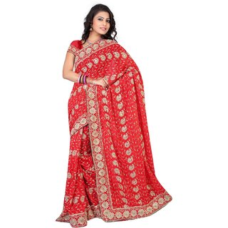 60 gram Heavy Embroidery Work Red Sifli Saree