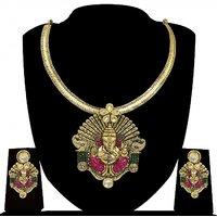 Zaveri Pearls Lord Ganesha Carved Necklace Set-ZPFK4142