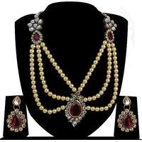 Zaveri Pearls Wedding Pattern Pearl Necklace Set-ZPFK4146