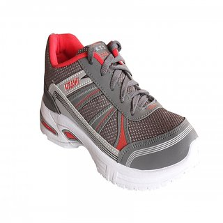Delux Look Mens Grey Pink Lace-up Cricket Shoe