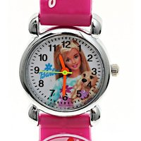 Barbie Doll Pattern Round White Dial Watch - Kids