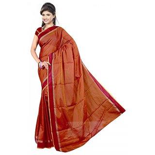 srujan textiles chettinadu orange plain cotton saree