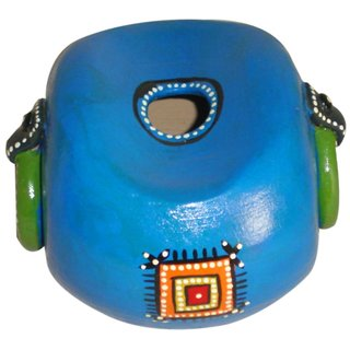 Nayahub Green and Blue Terracotta Tribal Design Pen Stand