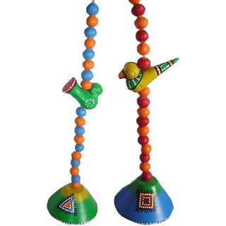 Nayahub Multi-colour Terracotta Set Of Hanging Bells (2 Pcs)