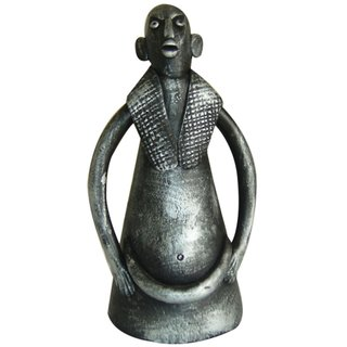 Nayahub Black and Silver Terracotta Tribal Man Showpiece