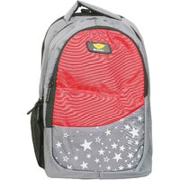 Sami Red  Grey Polyester School Bag