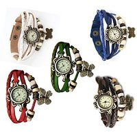 Round Dial Multi Leather Strap Analog Combo Watch For Women.