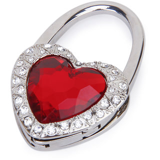 Red Heart Shape Rhinestone Folding Purse Handbag Hanger Hook Holder