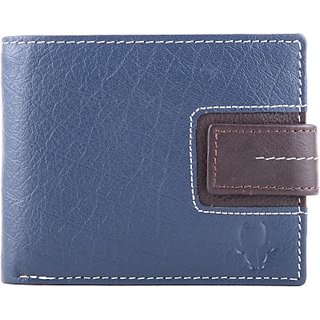 Wildhorn Men Casual Formal Blue Genuine Leather Wallet (6 Card Slots)