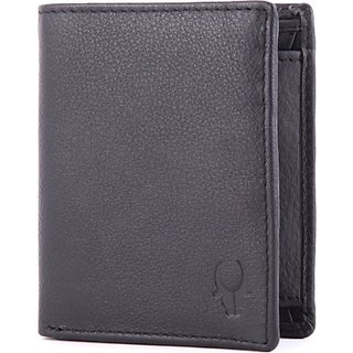 Wildhorn Men Casual Formal Black Genuine Leather Wallet (6 Card Slots)