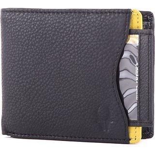 Wildhorn Men Casual Formal Black Genuine Leather Wallet (6 Card Slots)