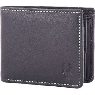 Wildhorn Men Casual Formal Black Genuine Leather Wallet (5 Card Slots)