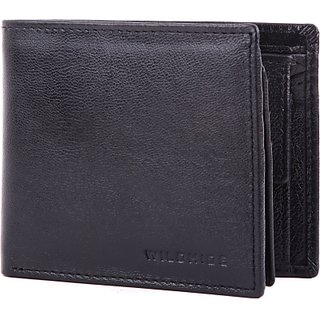 Wildhide Men Casual Formal Black Genuine Leather Wallet (6 Card Slots)