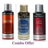 Combo of Park Avenue Good Morning Deo Spray - 150 ml (For Men) + Park Avenue Alpha Deo Spray - 150 ml(For Men) + Park Avenue I.Q. Deo Spray - 150 ml(For Men)