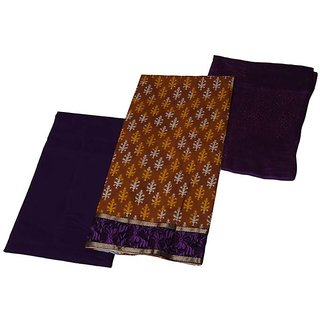 Looks Unstitched Cotton suit Brown-Purple dress material