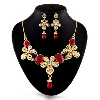 Gold Finish Delicate Red Necklace Set by Shital