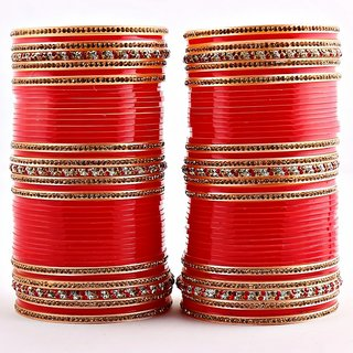 Red Bridal Punjabi Chudas  Wedding Chudas With American Diamond
