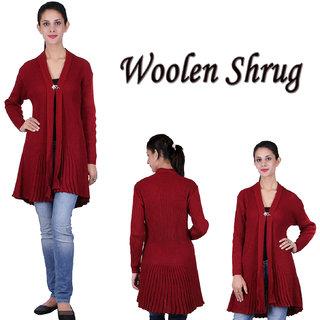Woolen Shrug For Women Maroon