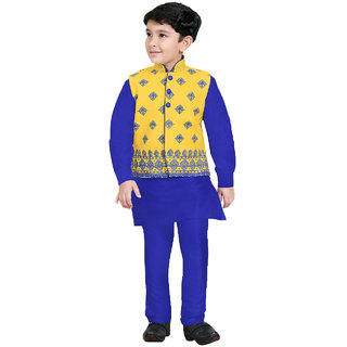 Pagli yellow jacket with blue kurta churidhar -PJVRE-478414