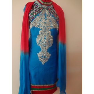 Blue and red designer Embroidered neck with designer full  Embroidred back
