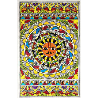 Classic Madhubani Painting re print on canvas 36 X 24  size