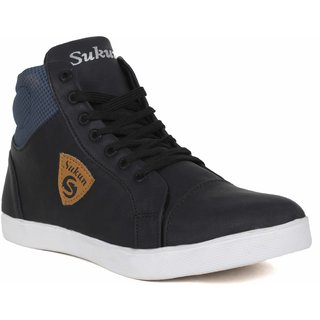 Sukun Mens Black Lace-up Sneakers