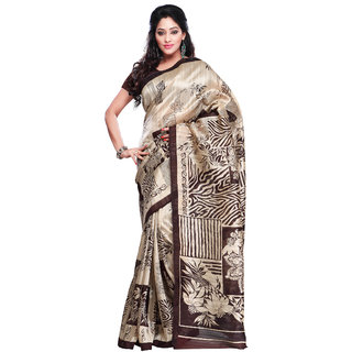 Prafful Cream And Brown Bhagalpuri Silk Printed Saree  GS102463