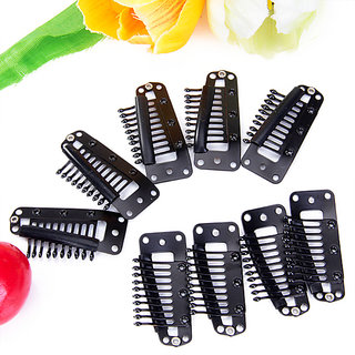 20pcs Black 10 Teeth Snap-Comb Wig Clips with Rubber Back