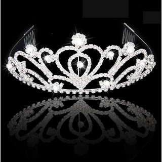 Fashion Rhinestones Bride Crown Headband with Comb Tiara Wedding Party