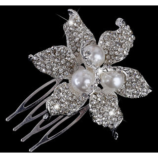Phenovo Bridal Wedding Flower Rhinestone Pearl Hair Comb Hair Accessories