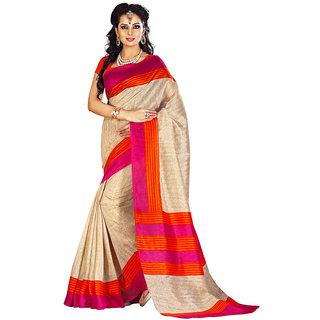 Gerbera Designer Amazing Bhagalpuri Silk Beige Designer Printed Saree