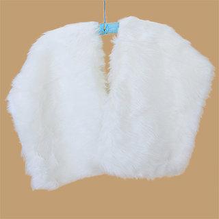 Elegant Faux Fur Wrap Shrug Bridal Wedding Shawl Scarf White