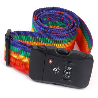 3-Dial Rainbow Colored Tsa Combination Lock Key Luggage Suitcase Secure Safe Strap Belt Strip