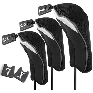 3Pcs Soft 1 3 5 Wood Golf Club Driver Headcovers Head Covers Set - Black