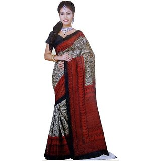 Red  black bhagalpuri cotton Saree
