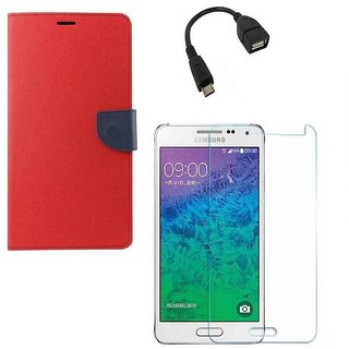 Ygs Diary Wallet Case Cover  For   Samsung Galaxy J3-Red With Tempered Glass ,Micro Otg