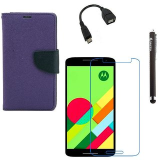 Ygs Diary Wallet Case Cover  For   Motorola Moto X Play-Purple With Tempered Glass ,Micro Otg  And Griffin Stylus Pen