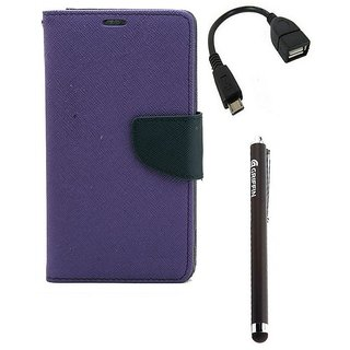 Ygs Diary Wallet Case Cover  For   Motorola Moto X Play-Purple,Micro Otg  And Griffin Stylus Pen