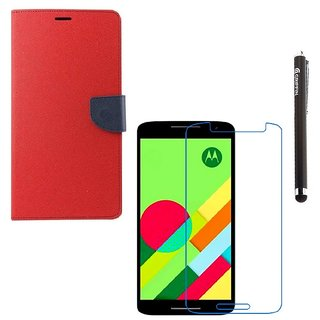 Ygs Diary Wallet Case Cover  For   Motorola Moto X Play-Red With Tempered Glass  And Griffin Stylus Pen