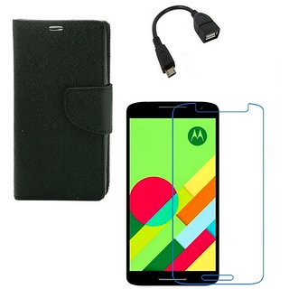 Ygs Diary Wallet Case Cover  For   Motorola Moto X Play-Black  With Tempered Glass ,Micro Otg