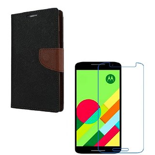Ygs Diary Wallet Case Cover  For   Motorola Moto X Play-Black Brown With Tempered Glass