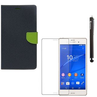 Ygs Diary Wallet Case Cover  For  Sony Xperia Z3-Blue With Tempered Glass  And Griffin Stylus Pen