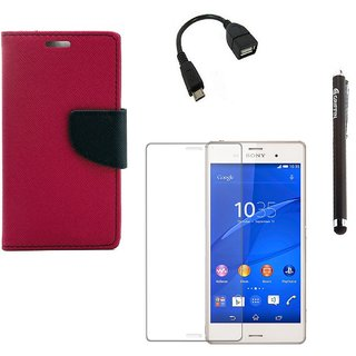 Ygs Diary Wallet Case Cover  For  Sony Xperia Z3-Pink With Tempered Glass ,Micro Otg  And Griffin Stylus Pen