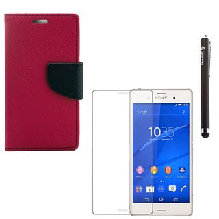 Ygs Diary Wallet Case Cover  For  Sony Xperia Z3-Pink With Tempered Glass  And Griffin Stylus Pen