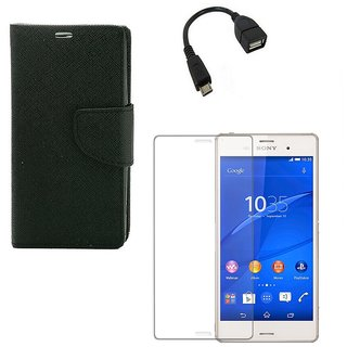 Ygs Diary Wallet Case Cover  For  Sony Xperia Z3-Black  With Tempered Glass ,Micro Otg