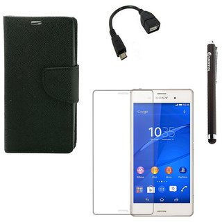 Ygs Diary Wallet Case Cover  For  Sony Xperia Z3-Black  With Tempered Glass ,Micro Otg  And Griffin Stylus Pen