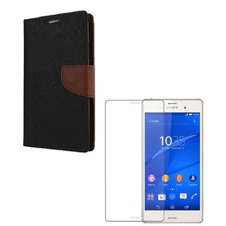 Ygs Diary Wallet Case Cover  For  Sony Xperia Z3-Black Brown With Tempered Glass