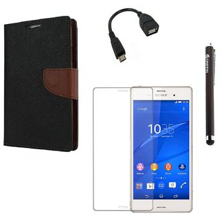 Ygs Diary Wallet Case Cover  For  Sony Xperia Z3-Black Brown With Tempered Glass ,Micro Otg  And Griffin Stylus Pen