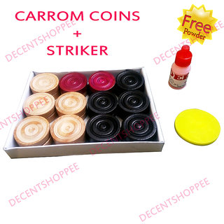 WOODEN CARROM COINS + STRIKER with FREE POWDER