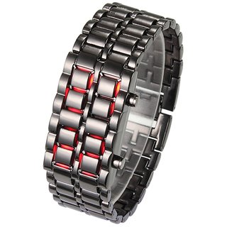 Stainless Steel Black Belt Red LED Bracelet Sport Digital Watch - For Men, Boys